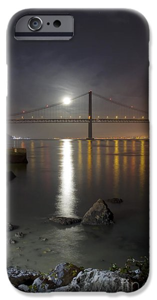 Reflection Harvest iPhone Cases - Harvest Moon Sets Over The Tagus River iPhone Case by Miguel Claro