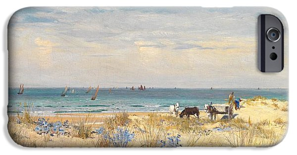 Boat Paintings iPhone Cases - Harvesting the Land and the Sea iPhone Case by William Lionel Wyllie