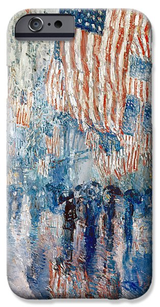 Best Sellers -  - Stripes iPhone Cases - Hassam Avenue In The Rain iPhone Case by Granger