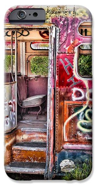 Susan Candelario Photographs iPhone Cases - Haunted Graffiti Art Bus iPhone Case by Susan Candelario