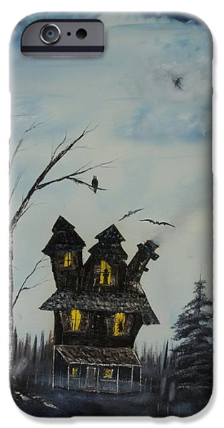 Haunted House Paintings iPhone Cases - Haunted House 2007 iPhone Case by Shawna Burkhart