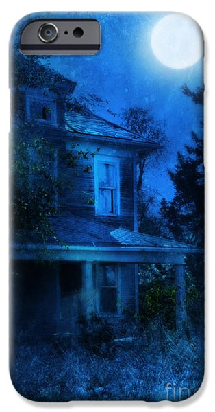 Haunted House iPhone Cases - Haunted House Full Moon iPhone Case by Jill Battaglia