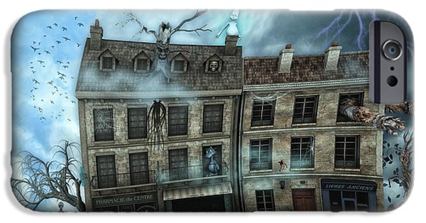 Haunted House Digital Art iPhone Cases - Haunted House iPhone Case by Jutta Maria Pusl