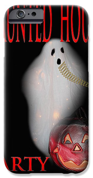 HAUNTED HOUSE PARTY iPhone Case by Debra     Vatalaro
