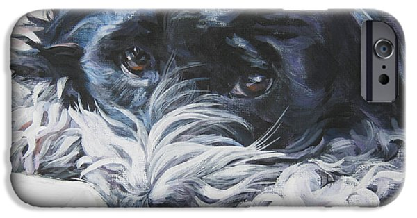 Puppies iPhone Cases - Havanese black and white iPhone Case by Lee Ann Shepard