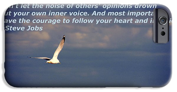 Flying Seagull iPhone Cases - Have The Courage to Follow Your Heart iPhone Case by Susanne Van Hulst