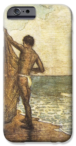 Net Paintings iPhone Cases - Hawaiian Fisherman Painting iPhone Case by Hawaiian Legacy Archive - Printscapes