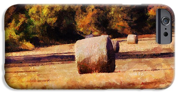 Bales Paintings iPhone Cases - Hay Bales iPhone Case by Jai Johnson