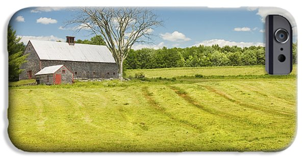 Farm iPhone Cases - Hay Being Harvested Near Barn In Maine iPhone Case by Keith Webber Jr