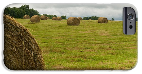 Haybale iPhone Cases - Haybales in Field on Stormy Day iPhone Case by Douglas Barnett
