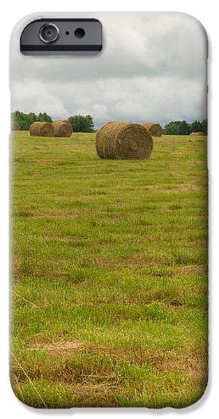 Haybales in Field on Stormy Day iPhone Case by Douglas Barnett