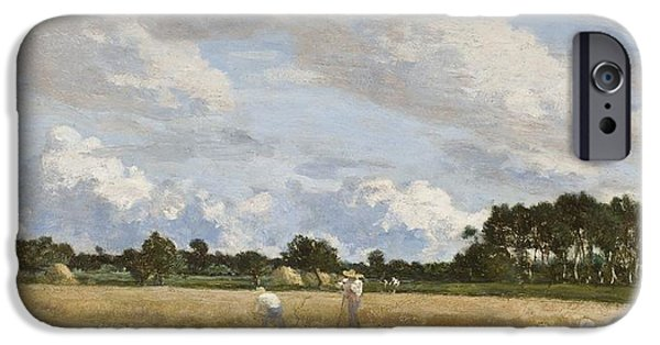 Laborers iPhone Cases - Haymaking iPhone Case by Eugene Louis Boudin