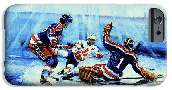 Hockey Paintings iPhone Cases - He Shoots iPhone Case by Hanne Lore Koehler