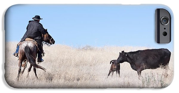 Working Cowboy Photographs iPhone Cases - Head Em Up iPhone Case by Cindy Singleton