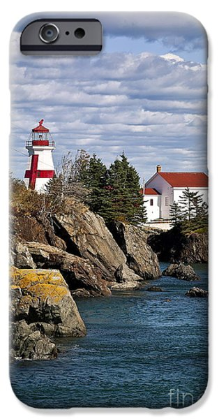 East Quoddy Lighthouse iPhone Cases - Head Harbour Lighthouse iPhone Case by John Greim