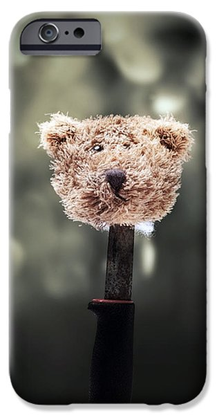 Eerie Photographs iPhone Cases - Head Of A Teddy iPhone Case by Joana Kruse