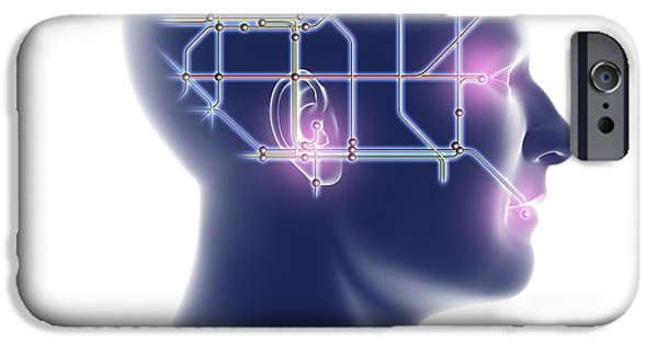 Cyberspace iPhone Cases - Head With Network Diagram iPhone Case by Pasieka