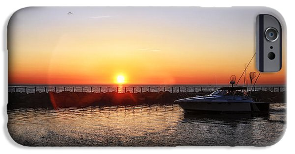 Boats In Water iPhone Cases - Heading Back iPhone Case by Mark Papke