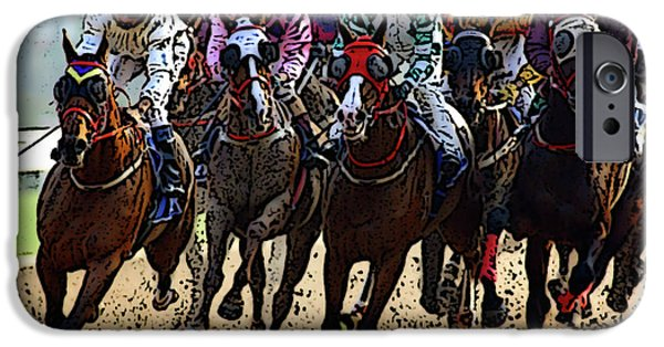 Horse Racing Digital Art iPhone Cases - Heading For TheFinish Line iPhone Case by Ben Freeman