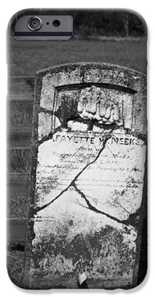 Headstones iPhone Cases - Headstone of Lafayette Meeks iPhone Case by Teresa Mucha