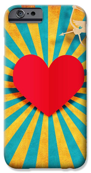 heart and cupid on paper texture iPhone Case by Setsiri Silapasuwanchai