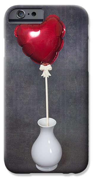 Red Balloons iPhone Cases - Heart Balloon iPhone Case by Joana Kruse