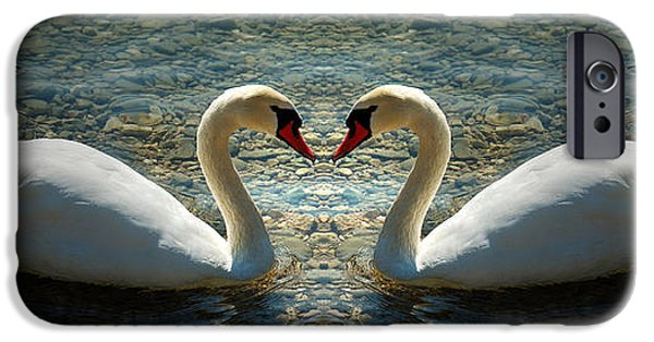 Swans... iPhone Cases - Heart Composed By Two Swan In Lake iPhone Case by Paul Frederik Lindner