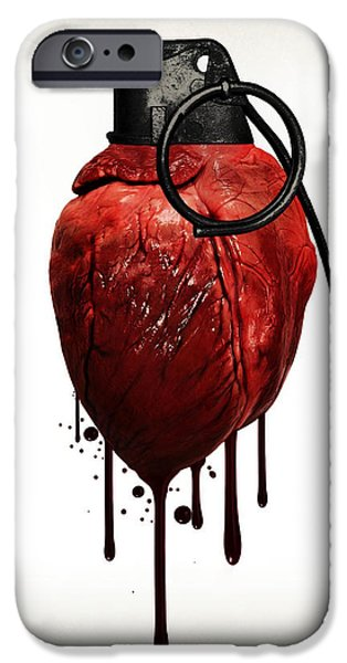 Hearts iPhone Cases - Heart grenade iPhone Case by Nicklas Gustafsson