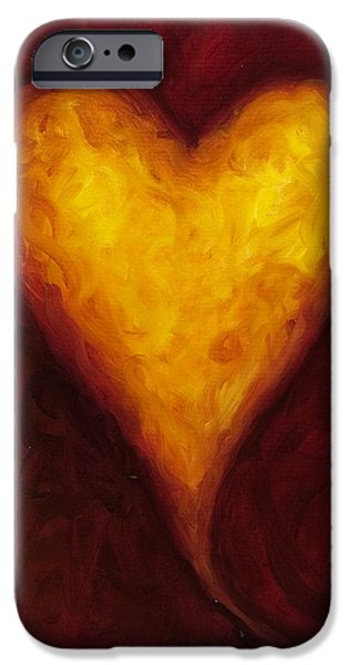 Hearts iPhone Cases - Heart of Gold 1 iPhone Case by Shannon Grissom