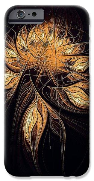 Floral Digital Art Digital Art iPhone Cases - Heart of Gold iPhone Case by Amanda Moore