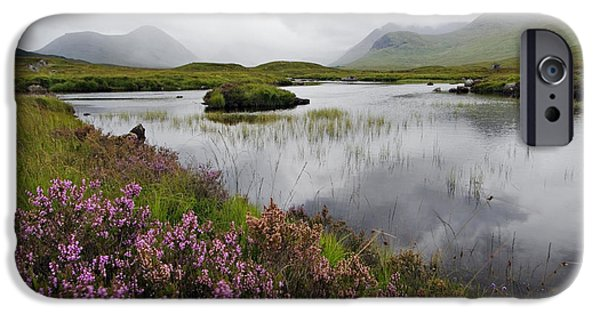 Great Mysteries iPhone Cases - Heather and Mist on Rannoch Moor - D002270 iPhone Case by Daniel Dempster