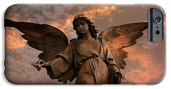 Angel. Spiritual iPhone Cases - Heavenly Spiritual Angel Wings Sunset Sky  iPhone Case by Kathy Fornal