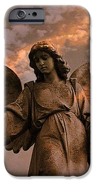 Heavenly Spiritual Angel Wings Sunset Sky  iPhone Case by Kathy Fornal