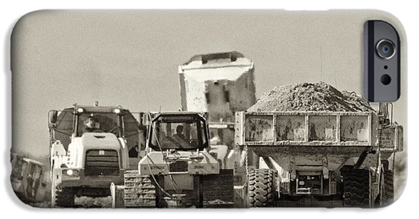 Construction Equipment iPhone Cases - Heavy Equipment Meeting iPhone Case by Patrick M Lynch
