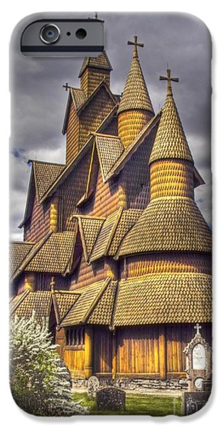 Heddal stave church  iPhone Case by Heiko Koehrer-Wagner