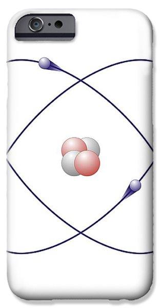 Helium, Atomic Model iPhone Case by Friedrich Saurer