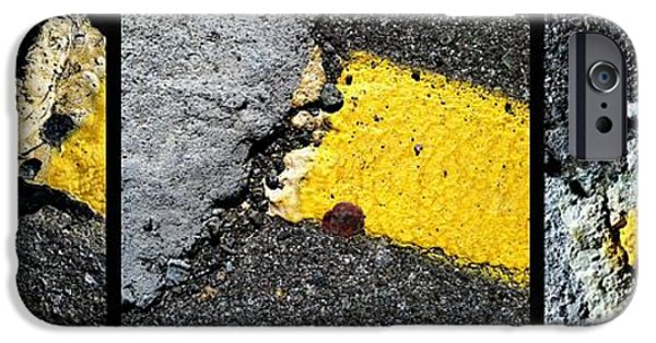 Asphalt iPhone Cases - Hello Yello iPhone Case by Marlene Burns