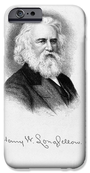 Autographed Drawings iPhone Cases - Henry Wadsworth Longfellow   iPhone Case by Granger