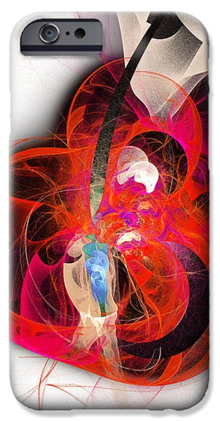 Fine Art Fractal iPhone Cases - Her Heart Is A Guitar iPhone Case by Andee Design