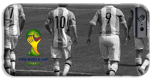 Clash Of Worlds iPhone Cases - Here We Come Lionel Messi Fifa 2014 Black and White iPhone Case by Lee Dos Santos