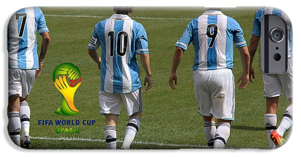 Clash Of Worlds iPhone Cases - Here We Come Lionel Messi Fifa 2014 iPhone Case by Lee Dos Santos