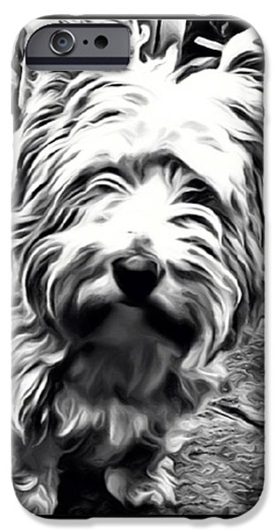 Westie Digital iPhone Cases - Heres looking at you iPhone Case by Tisha McGee