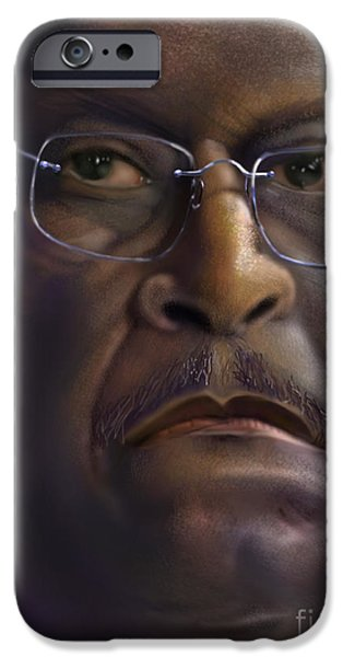 Tea Party iPhone Cases - Herman Razing Cain iPhone Case by Reggie Duffie