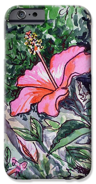 Hibiscus iPhone Cases - Hibiscus Sketchbook Project Down My Street  iPhone Case by Irina Sztukowski