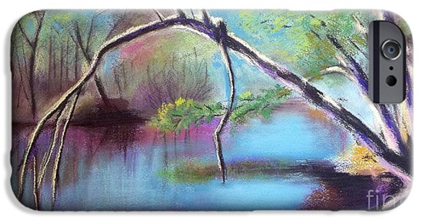 River View Pastels iPhone Cases - Hidden River At Sharon Mills iPhone Case by Yoshiko Mishina