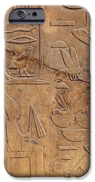 Hieroglyph iPhone Cases - Hieroglyphs on ancient carving iPhone Case by Jane Rix