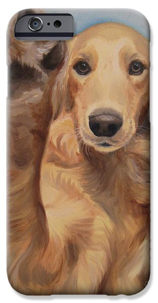 Golden Puppy iPhone Cases - High Five iPhone Case by Jindra Noewi