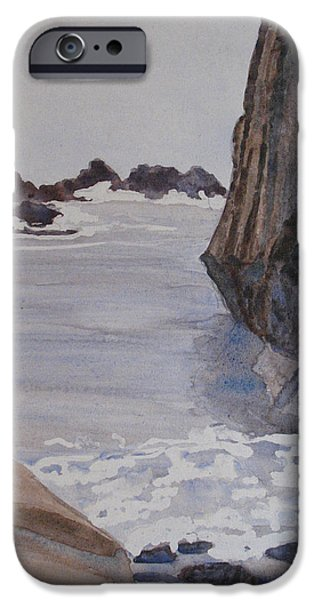 Beach Sculptures iPhone Cases - High Tide at Seal Rock iPhone Case by Jenny Armitage