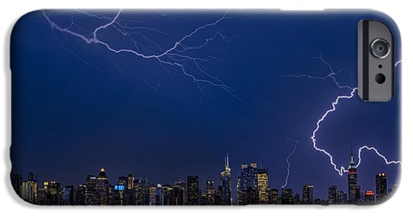 Electrical iPhone Cases - High Voltage in the  New York City Skyline iPhone Case by Susan Candelario