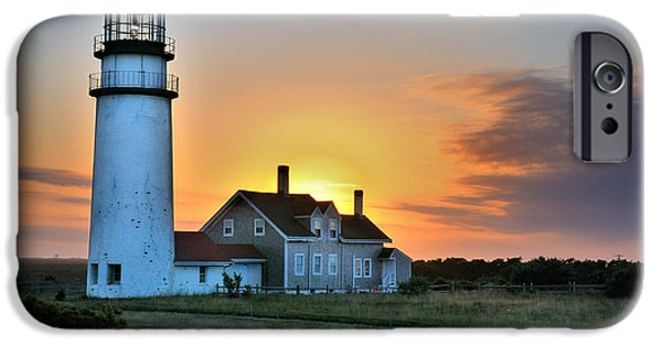 Cape Cod Lighthouse iPhone Cases - Highland Lighthouse - Sunset Burst iPhone Case by Thomas Schoeller